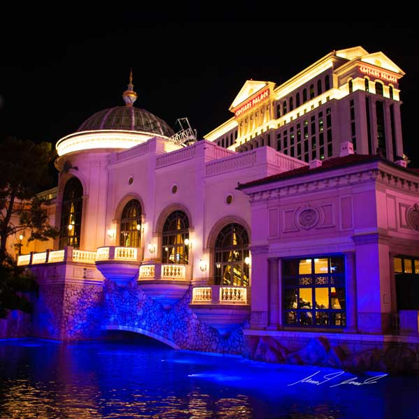 a shot of the bellagio hotel and pond in front