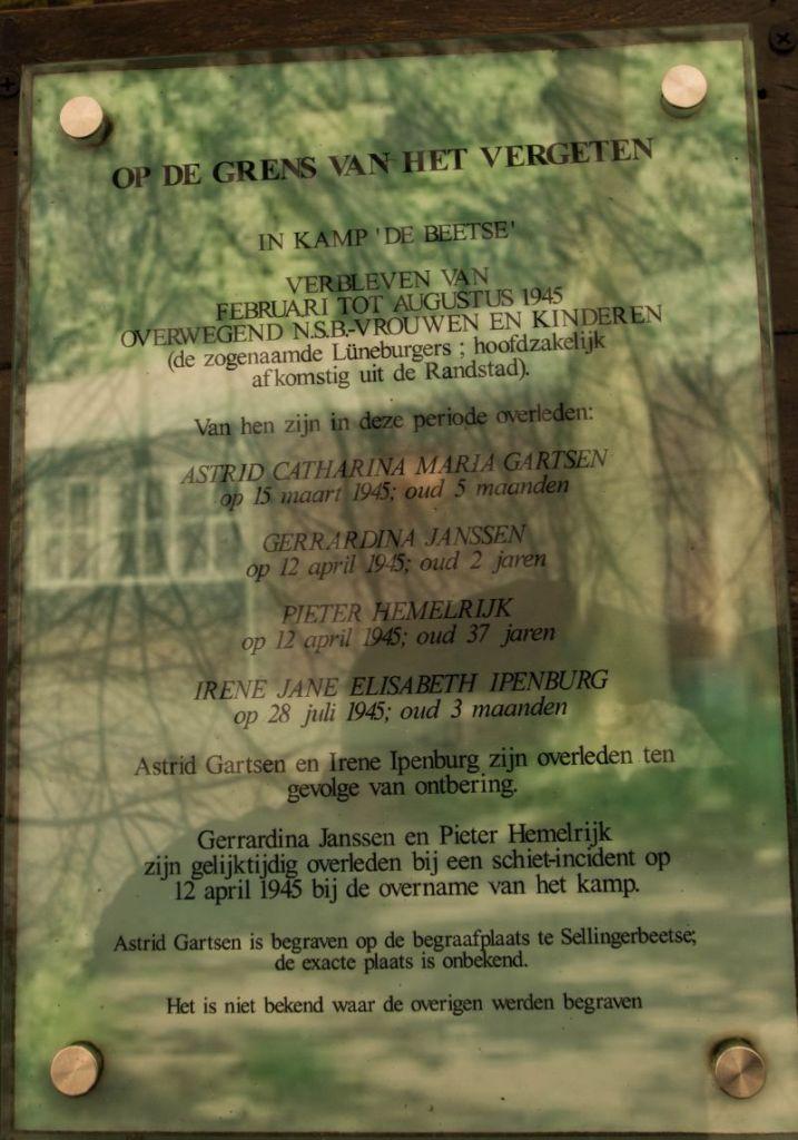Plaquette NSB-slachtoffers Kamp de Beetse