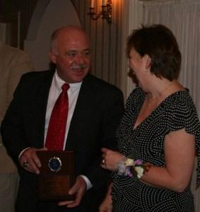 Tom presents Sandy Smith with the Jaycee Key Man award, 2007
