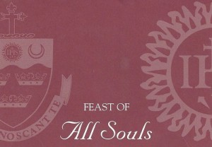 This card is sent to all BC High alumni each October to list the names of our beloved deceased and returned to the Loyola Chapel and the names are remembered at each mass in November
