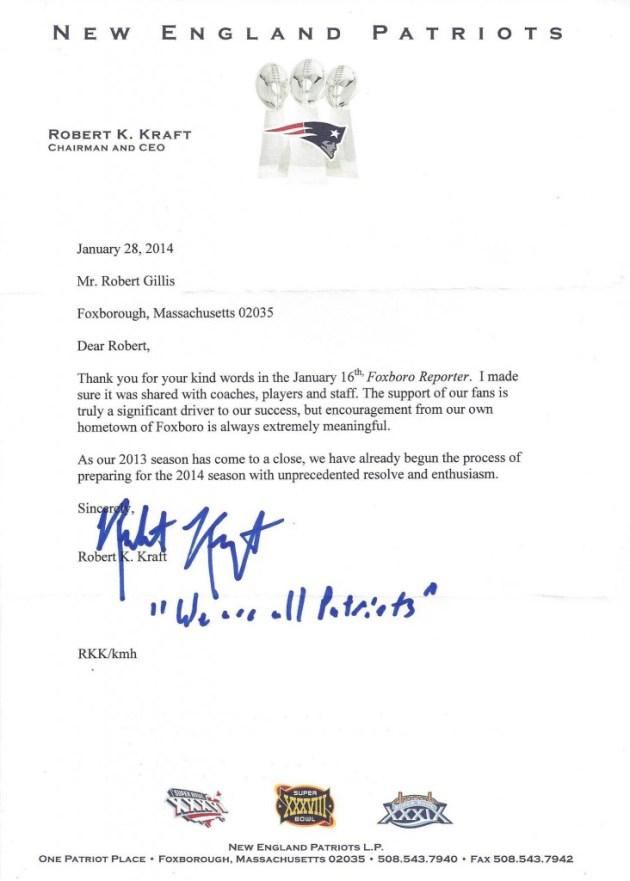 Bob Kraft Letter