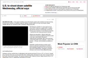 CNN story of Navy missile shoots down satellite