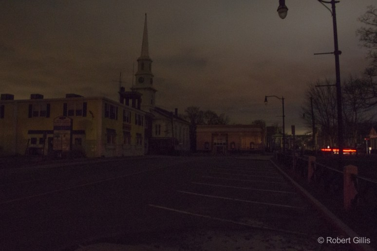 Foxboro Common with Bethany Church and the Orpheum in darkness during the 3/2018 electrical outage