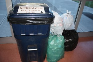 One of the many donation bins at La Salette