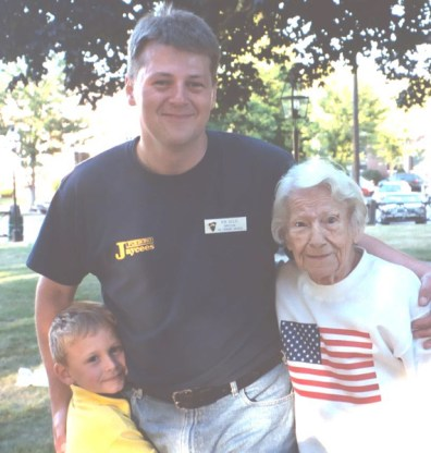 Mary Cicciu with my nephew Colin and myself at Foxboro Jaycees Family Night Out, August, 2002