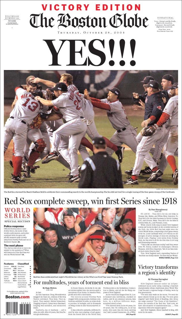Boston Red Sox Win The 2004 World Series  - Boston Globe Photo
