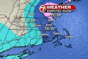 WHDH-TV (Channel 7 Boston) snowfall total graphic for 2/15/2015