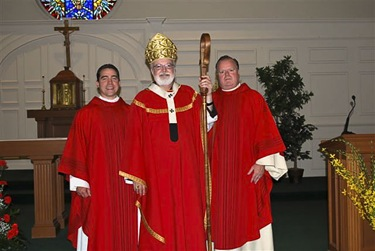 Father Steve Madden (right) with Father Jay (left) and Cardinal Sean O'Malley in 2009 at the celebration of the 150th anniversary of Saint Mary's Church