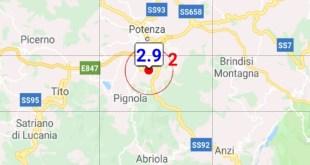 Scossa di terremoto di magnitudo 2.9 avvertita a Potenza