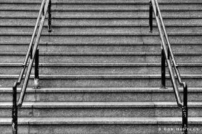 The stairs at L'Esplanade Laurier on Bank Street in Ottawa.