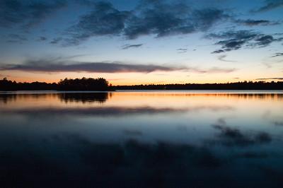 The islands at dusk on Black Lake near Perth, Ontario.