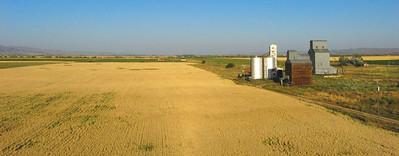 Aerial photograph of elevators and silos near Fairfield, Idaho.