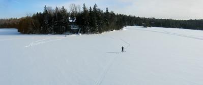 Panorama (3 images). Aerial lake views in winter - Kite Aerial Photography (KAP). Aerial views of Big Cedar Lake in winter near Messines, Quebec.