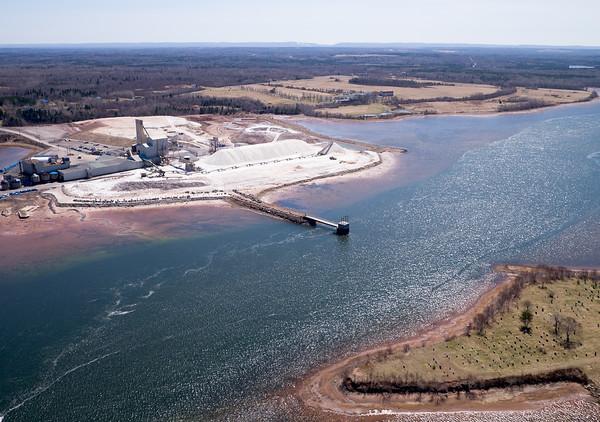 Aerial photograph. Salt mine of Windsor Salt. Pugwash, Nova Scotia