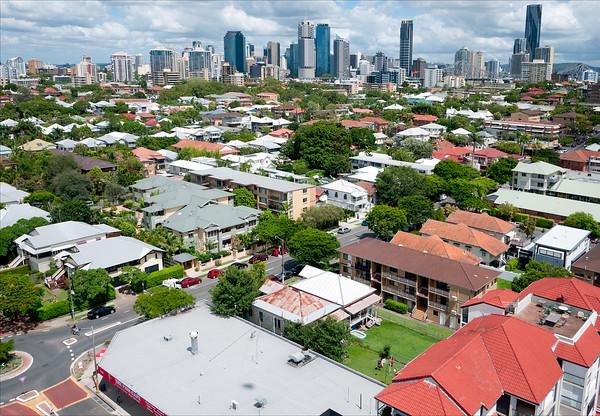 Aerial skyline view of the city of Brisbane taken from New Farm Park, Brisbane, Queensland, Australia.