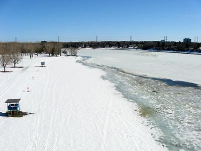 Mooney's Bay beach on the Rideau River in Ottawa, Ontario.