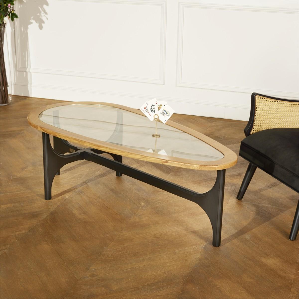 table basse bois et verre augustin