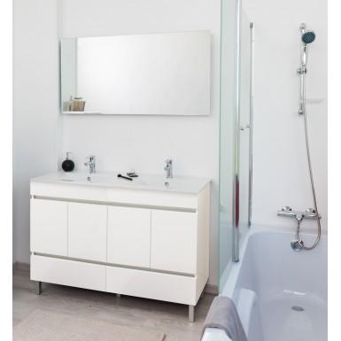 meuble de salle de bain a poser lancelo 120 de couleur blanc et moderne