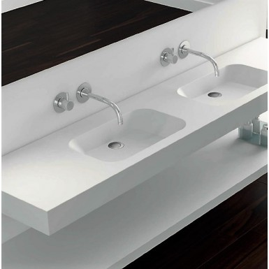 Plan Double Vasque Blanc A Suspendre Mat Code 2s Solid Surface Robinet Co