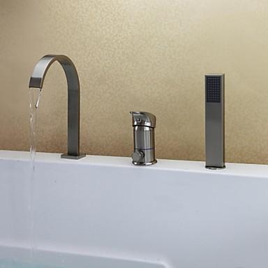 nickel brosse contemporain trois trous mitigeur baignoire robinet avec douchette
