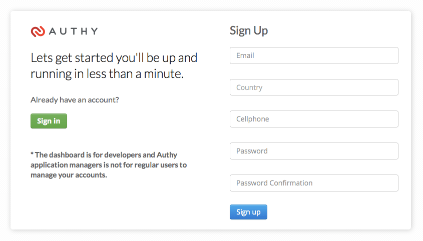 Authy Sign Up