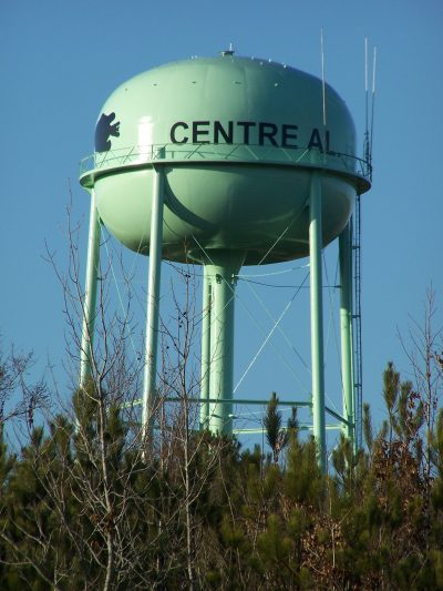 Centre, Alabama - water tank with fish logo