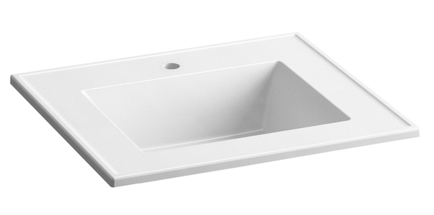 ceramic impressions 25 inch rectangular vanity top bathroom sink with single faucet hole