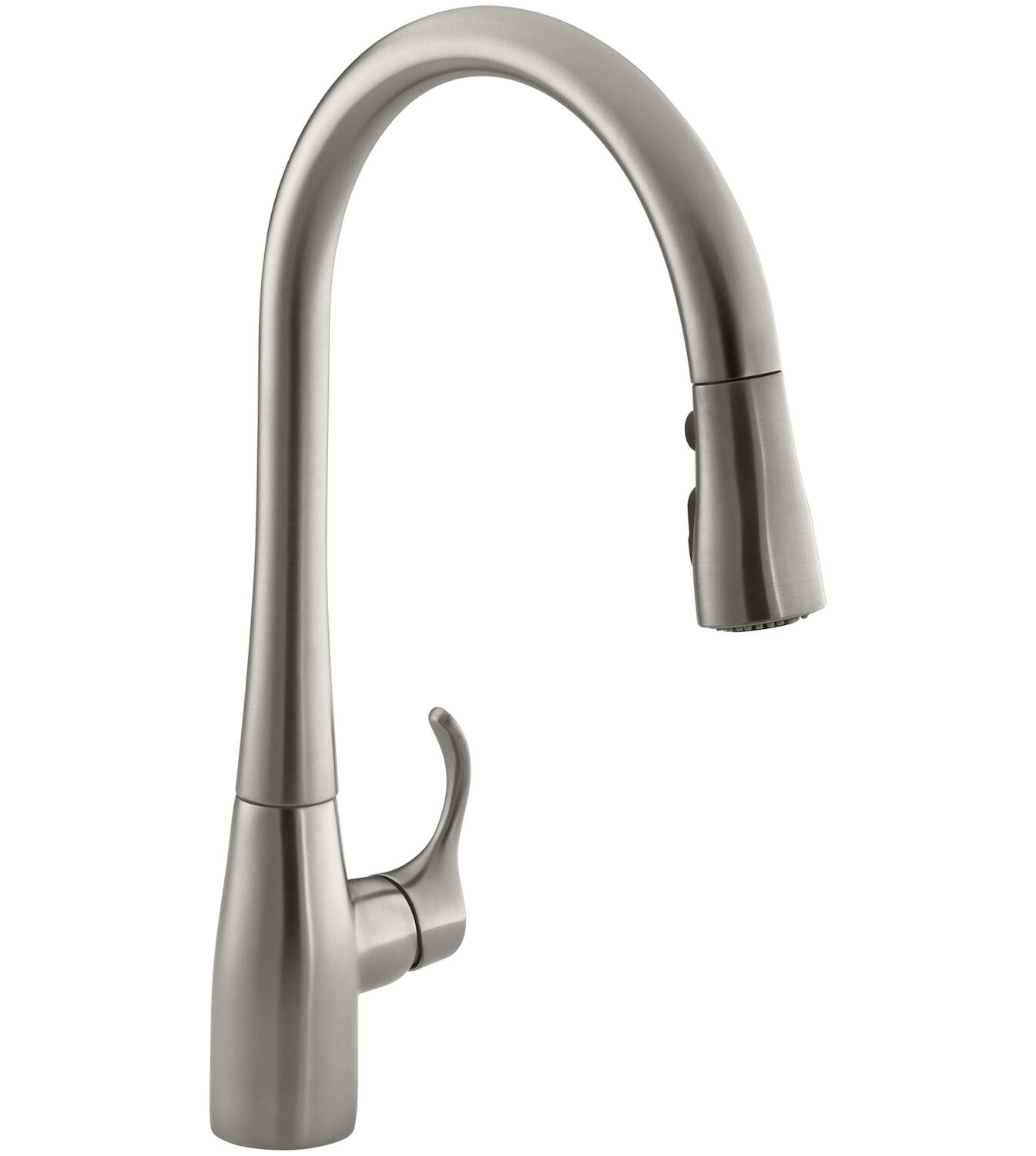 simplice r single hole or three hole kitchen sink faucet with 16 5 8 inch pull down spout docknetik r magnetic docking system and a 3 function