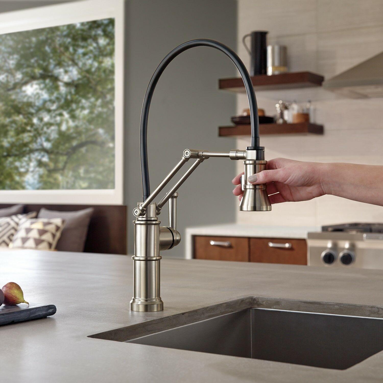artesso single handle articulating kitchen faucet