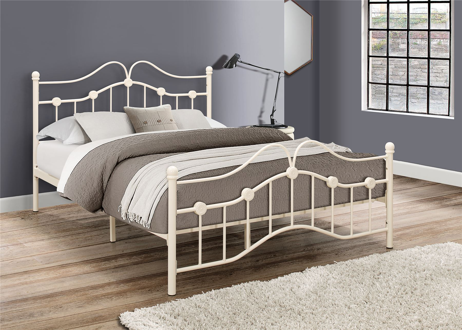 birlea canterbury 4ft small double 120cm cream metal off white bed frame