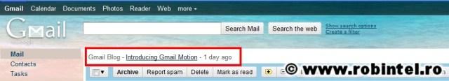 Reclamă la Gmail Motion pe Gmail