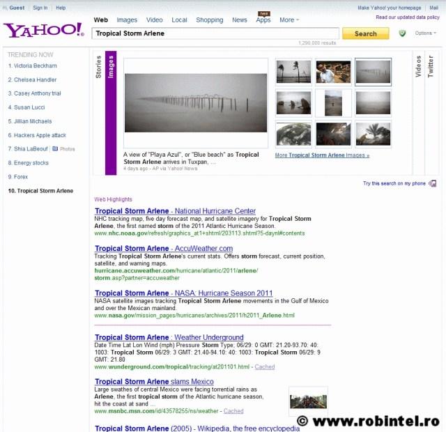 Căutarea imaginilor pe Yahoo! cu taburile de sortare a surselor și tipurilor de informație
