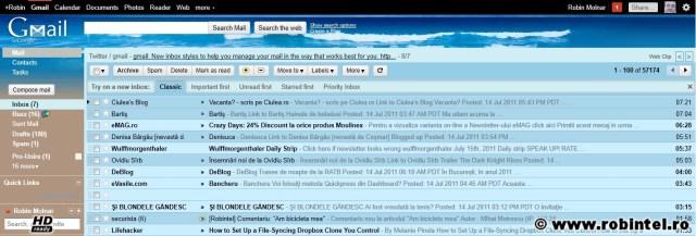 Noua interfață Gmail, cu butoanele setărilor comportamentului căsuței de e-mail sub butoanele de acțiune asupra mesajelor