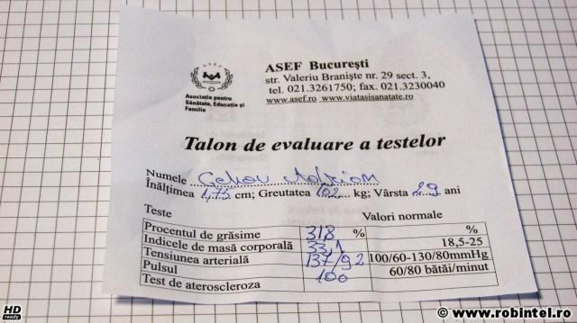 Talon de evaluare (țeapă!) a testelor medicale făcute de ASEF București, pe numele Cehov Alexandru (deh, am mințit, aia e!)
