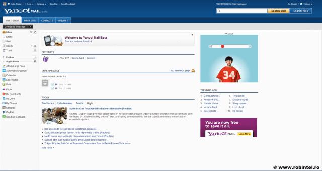 Noua interfață Yahoo! Mail, cu o mai bună organizare spațială și funcțională, funcționalitatea Web 2.0 fiind mutată într-un tab separat