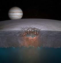 Lac de gheață sub crusta satelitului Europa