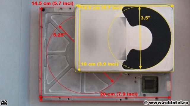 Hard diskul de 5.25 inci Quantum Bigfoot 1280AT comparat cu un hard disk de 3.5 inci, pe lungime, cu marcarea diametrelor aproximative ale platanelor din interior
