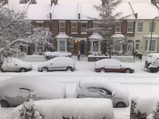 And snow in from the front of the house!