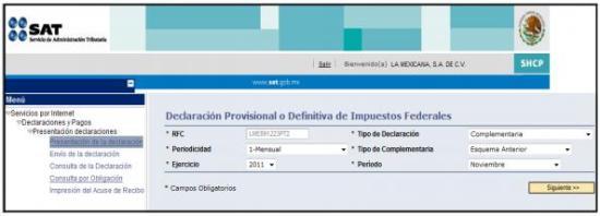 Servicio de declaraciones y pagos, Declaraciones complementarias esquema anterior, pago referenciado,