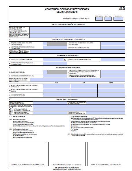 formato 37-A editable constancia de percepciones y retenciones de isr iva y ieps