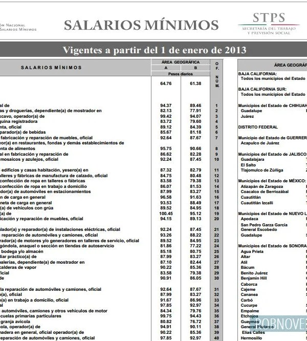 Salarios minimos profesionales 2013