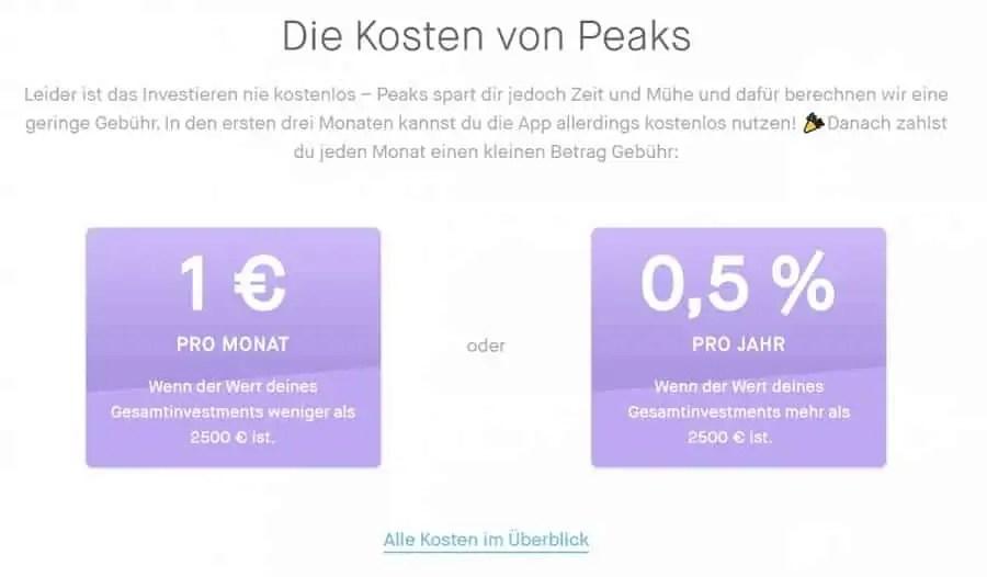Peaks - Überblick der Kosten bei Nutzung der Robo-Advisor App