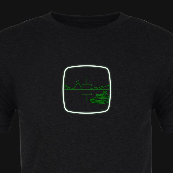 Battlezone Premium Tee :: Cropped :: Glow :: ARCADE VISIONS Series :: Robots And Rocketships