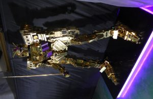 YSL Robot made of recycled beauty product boxes.