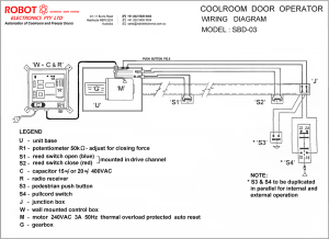 Vertical Lift Coolroom and Freezer Door Opener Model SBD03  Robot Electronics