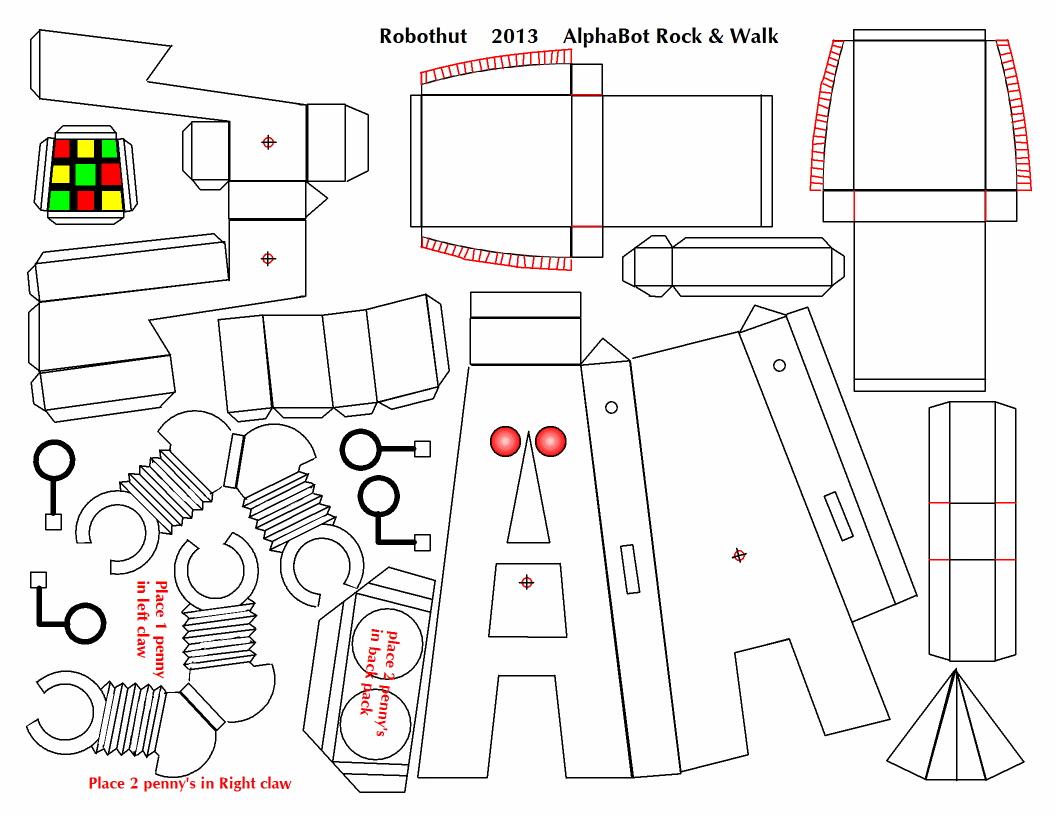 Paper Craft Rocking Walker Robot Plans Alphabot The Ramp