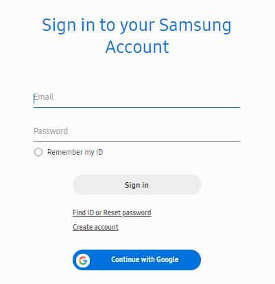 Samsung login