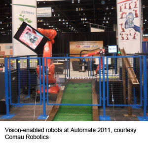 Vision-enabled robots at Automate 2011, courtesy Comau Robotics