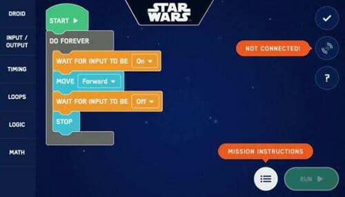 LittleBits Star Wars Droid block based coding
