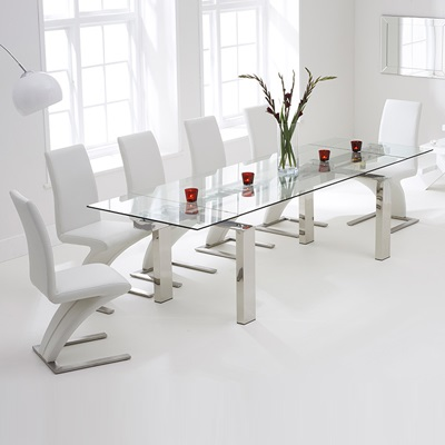 Lunar Glass Extending Dining Table With 8 Harvey White Chairs Robson Furniture